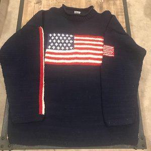 Sweaters - RALPH LAUREN look Handmade American Flag Sweater